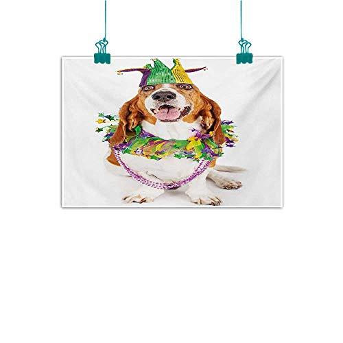 Hamsa Vibrant Necklace (Modern Frameless Painting Mardi Gras Happy Smiling Basset Hound Dog Wearing a Jester Hat Neck Garland Bead Necklace Bedroom Bedside Painting W35 xL31 Multicolor)