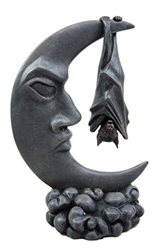 Atlantic Collectibles Nocturnal Sleeping Bat Hanging Over The Celestial Crescent Moon Decorative Figurine 8