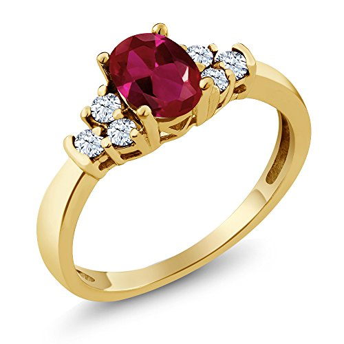 (Gem Stone King 0.92 Ct Oval Red Created Ruby White Topaz 925 Yellow Gold Plated Silver Ring (Size 9))