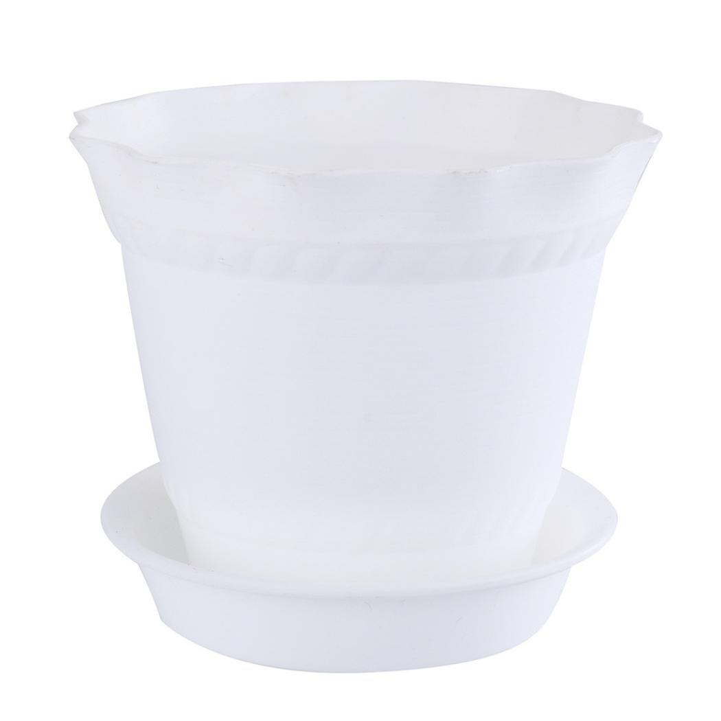 Light Color Round Plant Pot - Plastic Flower Pot Planter Succulent Plant Flowerpot with Drainage Deep Home Garden Office Decor (White)