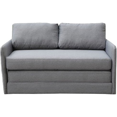 Sleeper Loveseat - Convertible to Full Size Small Sofa Bed - Contemporary Upholstered Two Seat Furniture (Gray)