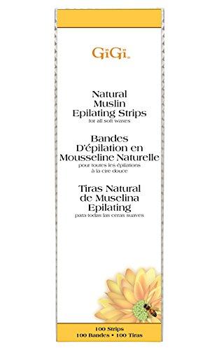 GiGi Natural Muslin Epilating Strips for Hair Waxing/Hair Removal, 100 Large - Strips Muslin Epilating Natural