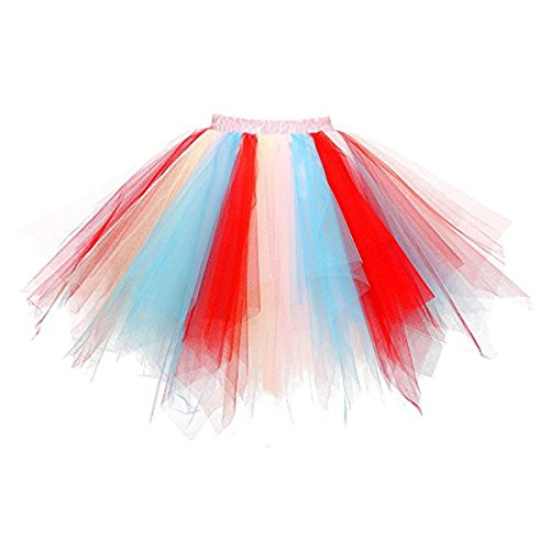 Bairicao Bulle Cuve Jupon Crinolines Tutu Ballet Danse Jupe de Pom - Pom Girls Costume Jupes Courtes  Tulle Rose+rouge+bleu