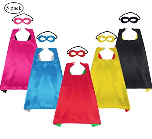 iROLEWIN Kids Dress Up Superhero Capes and Masks for Boys Girls Party Favor Costume Sets,5 Pack]()
