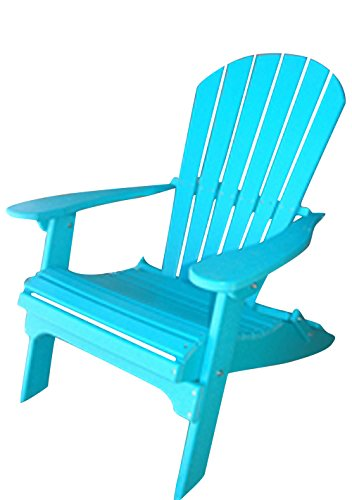 Phat Tommy Recycled Poly Resin Folding Adirondack Chair – Durable and Eco-Friendly Patio Furniture Armchair, Teal by Phat Tommy