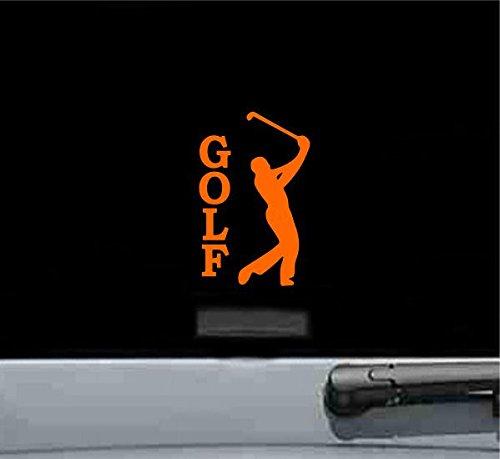 Golfer Sticker (Golfer With Text Golf Vinyl Decal Sticker (ORANGE))
