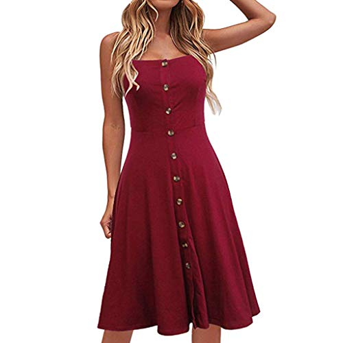 Sunhusing Ladies Solid Color Sexy Strapless Sleeveless Button-Down Waist-Tie Long Dress Casual Party Sundress Red ()