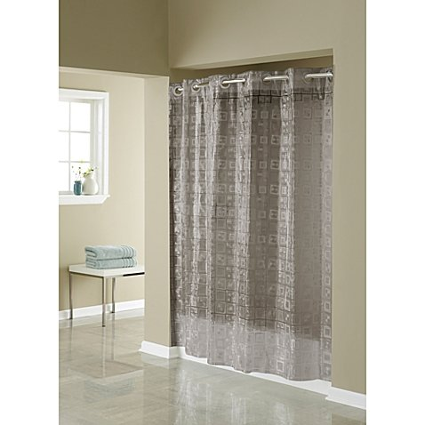 Price comparison product image Hookless 3D Smoke Puzzle 71-Inch W x 74-Inch L Shower Curtain