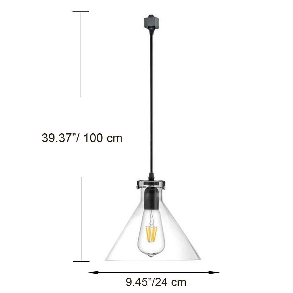 Kiven H-Type 3 Wire Glass Track Light Pendants Length 39.37 Restaurant Chandelier Decorative Chandelier Instant Pendant Light Bulb not Include Industrial Factory Pendant Lamp (TB0265-B) by Kiven (Image #3)