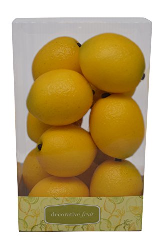 Florabunda 12-Piece Mini Decorative Fruit, Yellow Lemon (Yellow Flower Bowl)