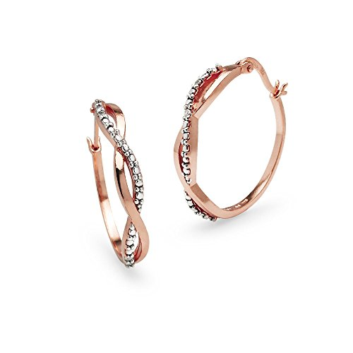 Rose Gold Flashed Sterling Silver Round Infinity Diamond Accent Round 25mm Hoop Earrings, IJ-I3