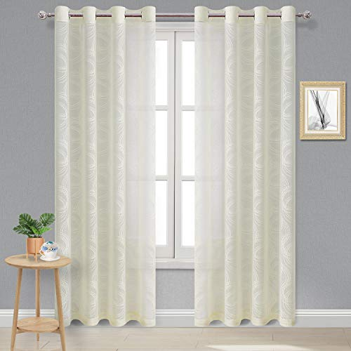 DWCN Geometric Burnout Sheer Curtains - Faux Linen Semi Sheer Voile Circle Pattern Living Room and Bedroom Curtains, 52 W x 84 L inch, Set of 2 Grommet Curtain Panels, Ivory