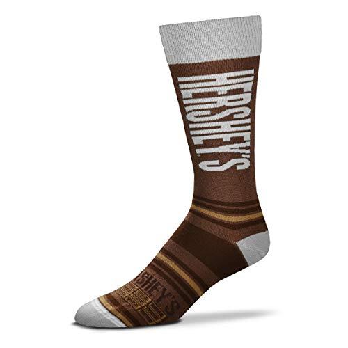 For Bare Feet Mens & Womens Fun Novelty Hershey's Candy -Stripealicious-Crew Socks-One Size Fits Most-Hershey Bar-OSFM -