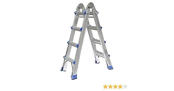 Outad 4 m Escalera telescópica de aluminio de doble cara, escalera multifunción, Altura ajustable …: Amazon.es: Bricolaje y herramientas