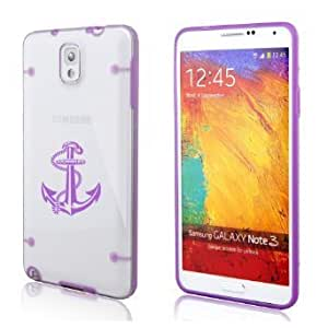 Samsung Galaxy Note 3 Ultra Thin Transparent Clear Hard TPU Case Cover Anchor with Rope (Purple)