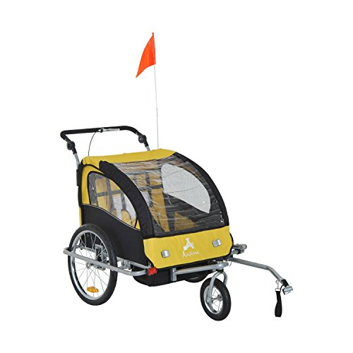 Aosom Elite II 3in1 Double Child Bike Trailer, Stroller & Jogger - Yellow