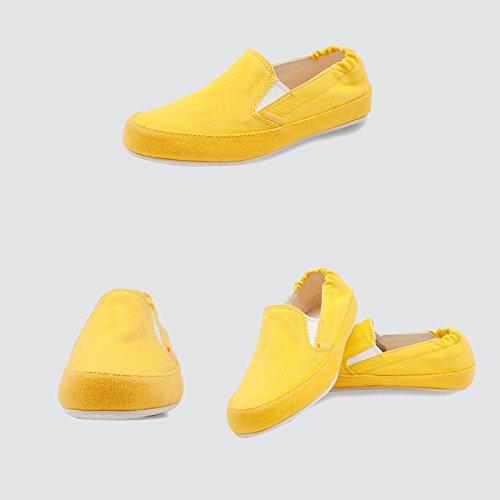LIUXUEPIN Vereinigte Staaten Hintere Straße Segeltuchschuhe Damenschuhe Schuhe Freizeitschuhe Ein Fuß Faule Schuhe Damenschuhe Koreanische Version Student Satz Schuhe Gelb 1f6921