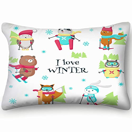 best bags Cute Animals Warm Hats Scarves Enjoying Wildlife Animal Signs Symbols Skin Cool Super Soft and Luxury Pillow Cases Covers Sofa Bed Throw Pillow Cover with Envelope Closure 1624 Inch