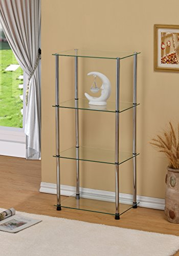 4-Tier Glass Display Cabinet Tower Shelf, Clear Glass