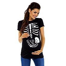 Zeta Ville - Women's Maternity Baby Skeleton Funny Print Tee Shirt Top - 085c