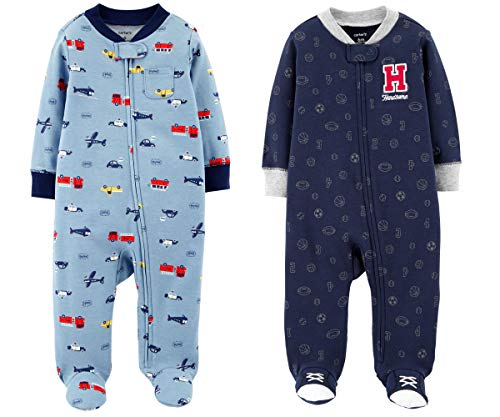 Carter's Set of 2 Baby Boys Cotton Footed Sleeper Sleep Play Pajamas (6 Months, Blue Vehicles and Sports)