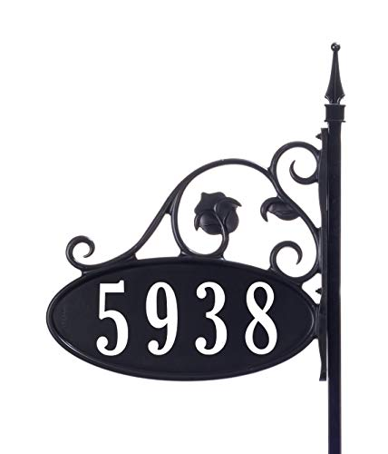 Plaque Sign Custom Address - Yard Sign Address Plaque with Highway-grade reflective vinyl House Numbers Wrought iron look, Oval, Black, Double sided house plate, 911 Visibility Signage, Elegantly handcrafted in USA, 47