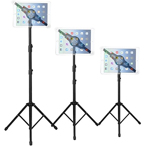 Foldable Floor Tablet Tripod Stand Mount, ANKO iPad and Tablet Floor Height Adjustable 360 Rotating Stand for iPad Mini, iPad Air, iPad 1,2,3,4, Samsung Galaxy and All 7 to 12 Tablets(BLACK)