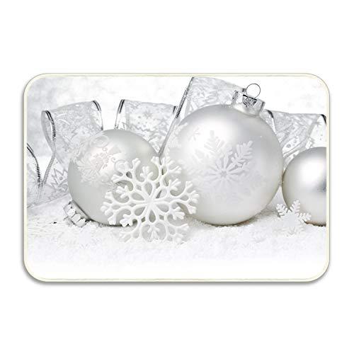 Machine-Washable Door Mat Holiday Christmas Ornaments White Silver Indoor/Outdoor Decor Rug Doormat 20