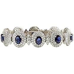 27.75 Carat Natural Sapphire And Diamond Bracelet In 14K Solid White Gold