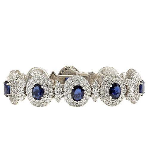 27.75 Carat Natural Blue Sapphire and Diamond (F-G Color, VS1-VS2 Clarity) 14K White Gold Luxury Tennis Bracelet for Women Exclusively Handcrafted in USA