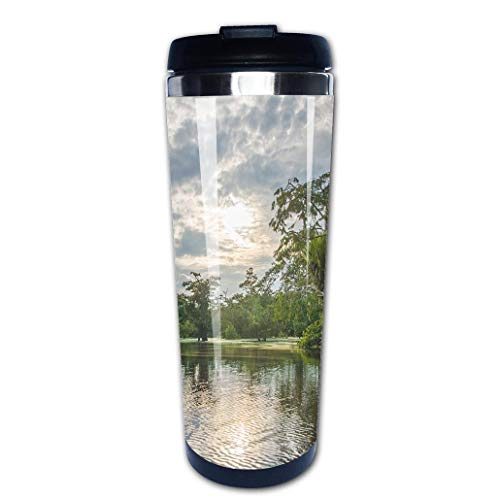 (Portable Stainless Steel Insulated Coffee Travel Cup Mug,Laguna Grande Lake on Cuyabeno river in Cuyabeno Reserveleak-proof flip cover keeps hot or cold 13.6 oz (400 ml) )