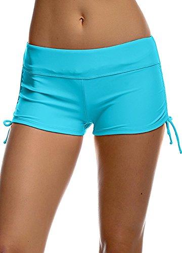 Mädchen UV Schutz Blau Wassersport Schwimmen Bikinihose Badeshorts Schwimmshorts XS