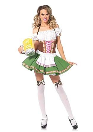 Leg Avenue Women's Plus Size Gretchen Costume, Green/Brown, 1X-2X