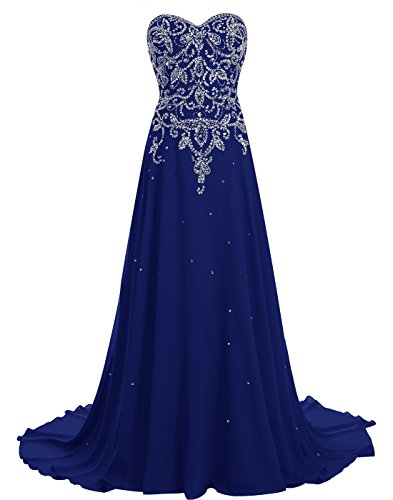 411Q3onuNIL - BeryLove Women's Beading Long Prom Dress Chiffon Corset Evening Gown With Train Royalblue Size 16