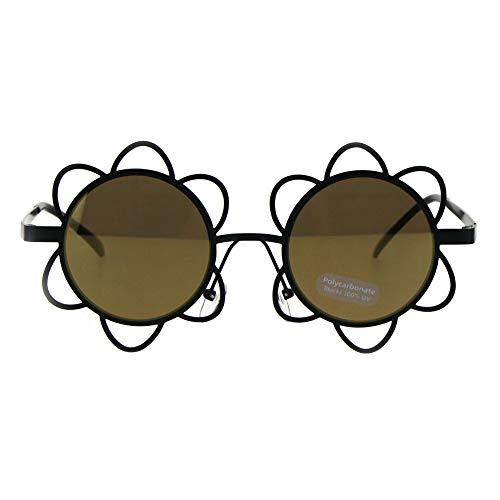 SA106 Womens Hippie Flower Daisy Metal Rim Party Shade Sunglasses Black Gold Mirror