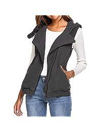 SCSAlgin Women Zip Sleeveless Hooded Vest Slim Fleece Pocket Waistcoat Jacket