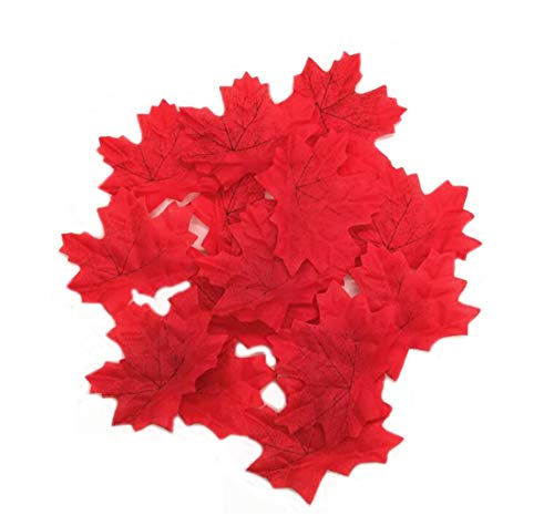(Ewanda store 500Pcs Artificial Maple Leaves Autumn Fall Leaves Bulk Faux Maple Leaves Art for Craft, Wedding, Festival,Thanksgiving Party Decorations(Red))