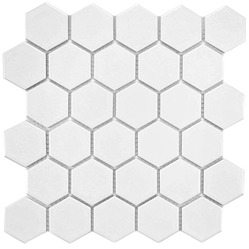 SomerTile FXLM2HMW Retro Hex Porcelain Floor and Wall Tile, 10.5