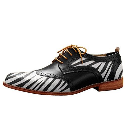 Itailor Heren Lederen Wingtip Schoenen Zwart