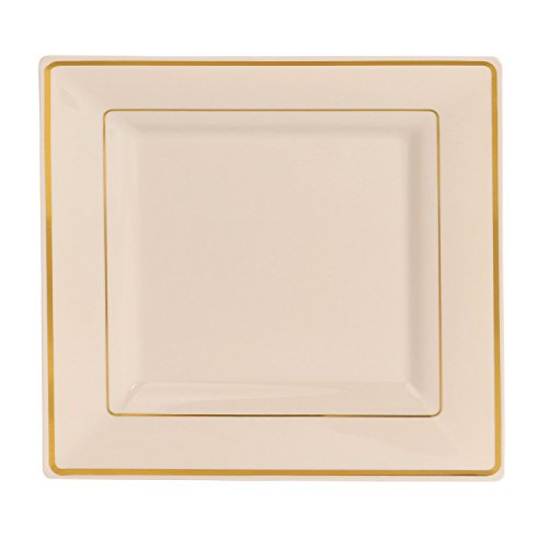 Square off white Ivory Disposable/Reusable Plastic Plates With Gold Rim 50 Pack-25-9.5'' Dinner + 25-6.5