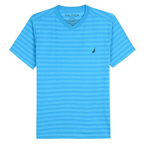 Nautica Toddler Boys' Short Sleeve Striped V-Neck T-Shirt, finn Ocean, 2T