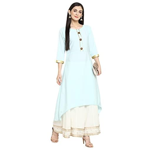 Ziyaa Women's Summer Blue Color Flared Crepe Solid Kurta(ZIK