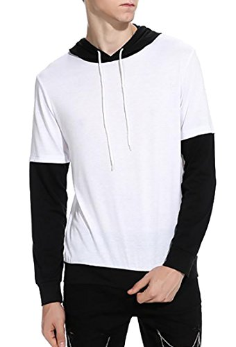 UK Sleeve Drawstring Fake Men Shirt Long White today Two Hooded Hdp4wqp