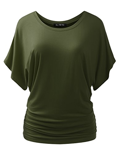 ALL FOR YOU Women's Round-Neck Kimono Dolman Short Sleeve Top Olive XX-Large