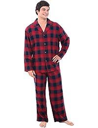 Mens Plaid Flannel Pajamas, Long Cotton Pj Set