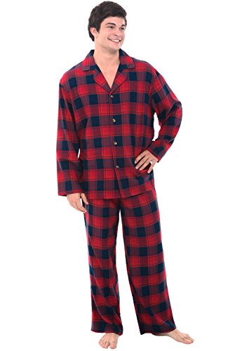 Plus Size Flannel Pajamas - Alexander Del Rossa Mens Flannel Pajamas, Long Cotton Pj Set, 3X Red and Navy Plaid (A0544Q343X)