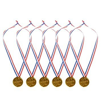 Neliblu Gold Winner Award Medals Ribbon Necklaces Bulk Pack of 24 Olympic Medals By