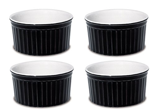 Black Round Souffle - Oxford Porcelain Ramekin- Set of 4 (Black)