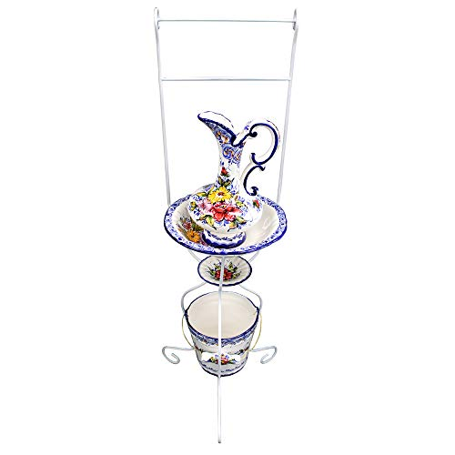 Washbasin Stand - FAIREAL Hand-Painted Portuguese Ceramic Wash Basin with Stand, Pitcher, Soap Dish and Bucket Set