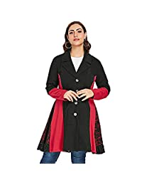 CNSTORE Fashion Lace Panel Wide-Waisted Plus Size Color Blocking Coat